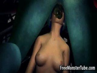藍頭髮的3d蜂蜜吮和他媽的monsternhostility高2
