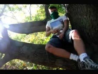 同性戀青少年男孩搖晃在樹林裡