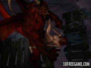 性感的3d紅發被一個飛過的惡魔困難
