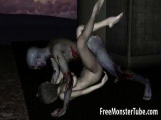 3d卡通殭屍寶貝變得舔和性交