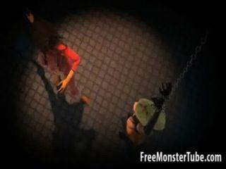 被栓3d獲得被鞭打的動畫片女同性戀的寶貝