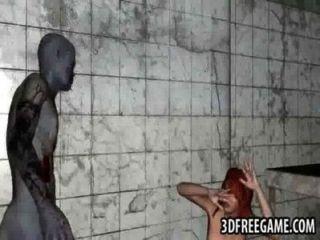 狡猾3d紅頭髮人寶貝乘坐殭屍硬公雞