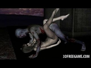 性感的3d僵尸宝贝得到她的猫舔和他妈的
