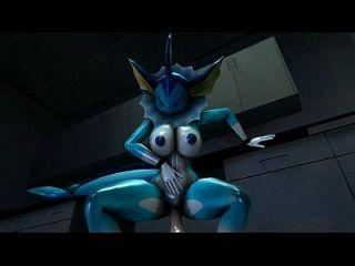 vaporeon在她的阴部采取另一种假阳具