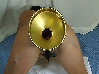 埃爾默妻子極端玻璃球填補她的屁股