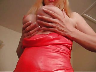 f60大胸部紅色禮服女士