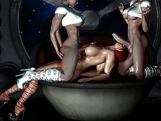 性感3d藝術2人妖他媽的一個女孩(很熱)