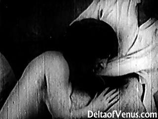 古董色情1920年巴士底日長毛的法國女孩