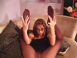 milf在眼鏡連褲襪玩