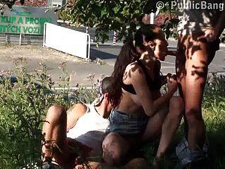 公共性真實的肛門在公共街道第1部分有性生活