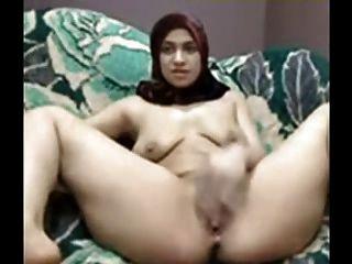 有hijab的阿拉伯女孩使用她的在cam的貓