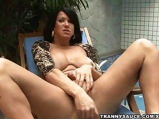 tranny vixen拉扯在她硬公雞池畔