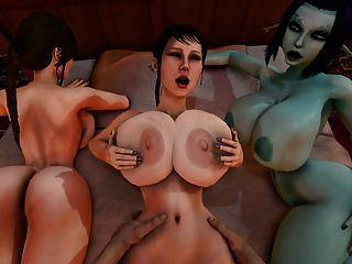 trishka得到性交,而索非亞和拉拉小農場觀察3d