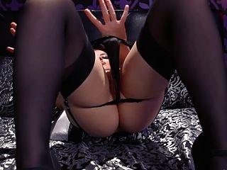 jessica ryan黑色絲襪和皮革basque