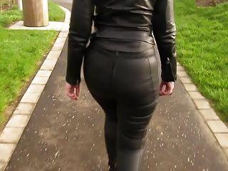 皮革eva出去散步在我的新皮革緊身褲5