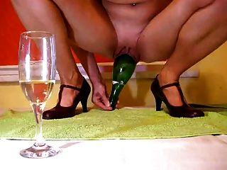 香檳瓶在貓