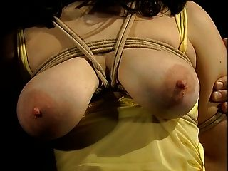 在黃色衣服的大山雀hottie束縛並且有用衣裳釘蓋的山雀
