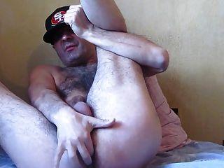 str8毛茸茸的爸爸撫摸他的肉