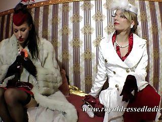 時尚經典女同性戀女士長狐狸毛緞連衣裙