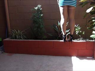 感覺5英寸高跟鞋在連褲襪在閃亮的一天第2部分