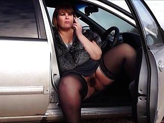 色情和音樂bbw由貓毛,煙在車裡