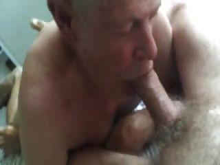 爺爺吮吸和吃暨從毛茸茸的肚子