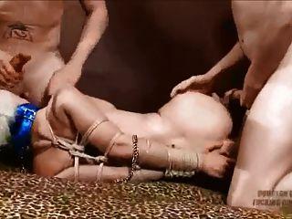 櫻桃撕裂綁起來和幫派他媽的1