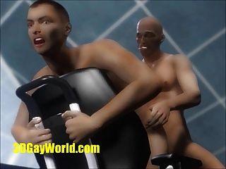 動畫3d同性戀性和虛擬cumshots在辦公室