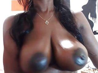 巧克力乳房上的大黑色乳头