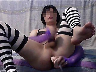 sissy玩假阳具和暨